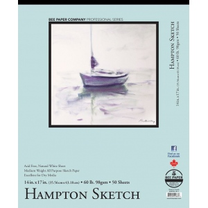 "Bee Paper® Hampton Sketch Pad 14"" x 17"": Tape Bound, White/Ivory, Pad, 50 Sheets, 14"" x 17"", Sketching, 60 lb, (model B825T50-1417), price per 50 Sheets pad"