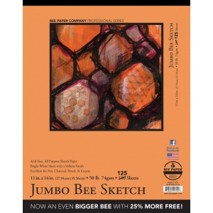 "Bee Paper® Jumbo Bee Sketch Pad 11"" x 14"": Tape Bound, White/Ivory, Pad, 125 Sheets, 11"" x 14"", Sketching, 50 lb, (model B827T100-1114), price per 125 Sheets pad"