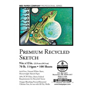 "Bee Paper® Premium Recycled Sketch Sheets 9"" x 12"": White/Ivory, Sheet, 100 Sheets, 9"" x 12"", Sketching, 70 lb, (model B837P100-912), price per 100 Sheets"