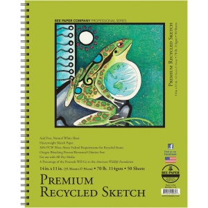 "Bee Paper® Premium Recycled Sketch Pad 14"" x 11"": Wire Bound, White/Ivory, Pad, 50 Sheets, 11"" x 14"", Sketching, 70 lb, (model B837S50-1114), price per 50 Sheets pad"