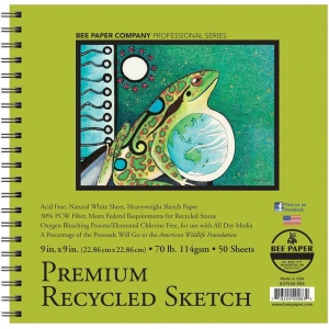 "Bee Paper® Premium Recycled Sketch Pad 9"" x 9"": Wire Bound, White/Ivory, Pad, 50 Sheets, 9"" x 9"", Sketching, 70 lb, (model B837S50-909), price per 50 Sheets pad"