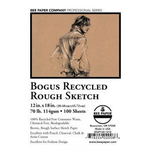 "Bee Paper® Bogus Recycled Rough Sketch Sheets 12"" x 18"": Brown, Sheet, 100 Sheets, 12"" x 18"", Sketching, 70 lb, (model B892P100-1218), price per 100 Sheets"