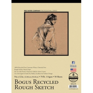 "Bee Paper® Bogus Recycled Rough Sketch Pad 9"" x 12"": Tape Bound, Brown, Pad, 50 Sheets, 9"" x 12"", Sketching, 70 lb, (model B892T50-912), price per 50 Sheets pad"