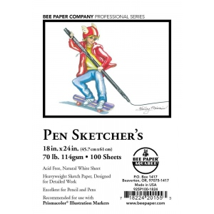 "Bee Paper® Pen Sketcher's Sheets 18"" x 24"": White/Ivory, Pad, 100 Sheets, 18"" x 24"", Sketching, 70 lb, (model B925P100-1824), price per 100 Sheets"