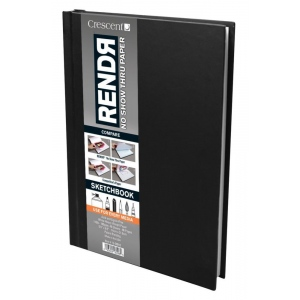 "Crescent® RENDR® All Media No Show Thru Paper Hardbound Sketchbook 5 1/2"" x 8 1/2"": Glue Bound, White/Ivory, Book, 5 1/2"" x 8 1/2"", Smooth, Drawing, Marker, 110 lb, (model C12-00010), price per each"