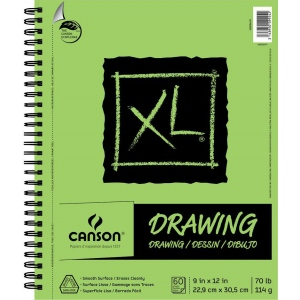 "Canson® XL® 9"" x 12"" Drawing Pad (Side Wire): Wire Bound, White/Ivory, Pad, 9"" x 12"", Smooth, Drawing, 70 lb, (model C400054491), price per pad"