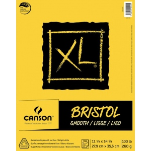 "Canson® XL® 11"" x 14"" Smooth Bristol Pad (Fold Over): Fold Over, White/Ivory, Pad, 11"" x 14"", Smooth, Bristol, 100 lb, (model C400061835), price per pad"