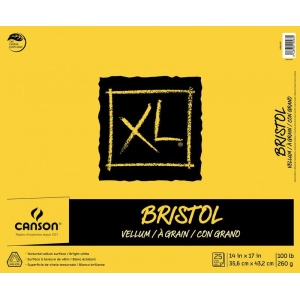 "Canson® XL® 14"" x 17"" Vellum Bristol Pad (Fold Over): Fold Over, White/Ivory, Pad, 14"" x 17"", Smooth, Bristol, 100 lb, (model C400061851), price per pad"