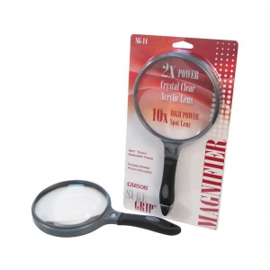 "Carson® SureGrip™ Hand Held Magnifier: 2x/10x, 5"", Handheld, (model CSG14), price per each"