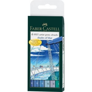 Faber-Castell 6-Piece Blue Shades Artist Pen Wallet Set