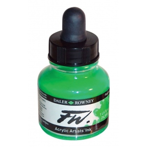 FW Liquid Artists' Acrylic Fluorescent Green Ink: Green, Bottle, Acrylic, 1 oz, (model FW160029349), price per each