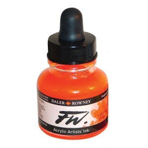 FW Liquid Artists' Acrylic Fluorescent Orange Ink: Orange, Bottle, Acrylic, 1 oz, (model FW160029653), price per each