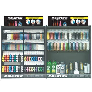 MOLOTOW™ Updated Complete Assortment (Locking Rack): Various, Paint, Refillable, Multi, Various, Paint Marker, (model MOLFULLASST2), price per each