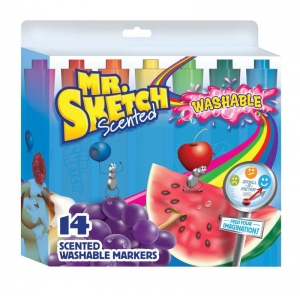 Mr. Sketch® 14-Color Scented Washable Marker Set: Various, Water-Based, No, Chisel Nib, Scented Marker, Washable, (model SN1924061), price per set