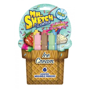 Mr. Sketch® 6-Color Scented Washable Marker Ice Cream: Various, Water-Based, No, Chisel Nib, Scented Marker, Washable, (model SN1924258), price per set