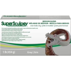SuperSculpey® Medium Blend Clay: Black/Gray, Bar, Polymer, 1 lb, Oven Bake, (model SSMED1), price per each