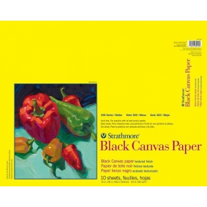 "Strathmore® 300 Series 16"" x 20"" Glue Bound Black Canvas Paper Pad: Black/Gray, Pad, 10 Sheets, 16"" x 20"", Canvas, 115 lb, (model ST310-216), price per 10 Sheets pad"