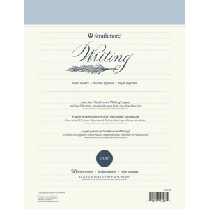"Strathmore® Writing Series 8 1/2"" x 11"" Lined Stationery Pad: Glue Bound, White/Ivory, Pad, 8 1/2"" x 11"", Notepad, 24 lb, (model ST572-81), price per pad"