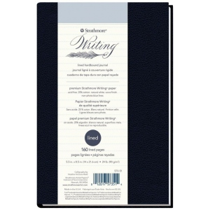 "Strathmore® Writing Series 5 1/2"" x 8 1/2"" Lined Hardbound Journal: Sewn Bound, Blue, Journal, 80 Sheets, 5 1/2"" x 8 1/2"", Writing, 24 lb, (model ST573-51), price per each"
