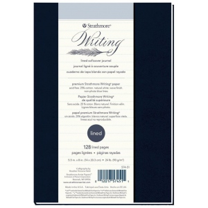 "Strathmore® Writing Series 5 1/2"" x 8"" Lined Softcover Journal: Sewn Bound, Blue, Journal, 64 Sheets, 5 1/2"" x 8"", Writing, 24 lb, (model ST574-51), price per each"