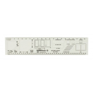 "Alvin® Kitchen Layout Template: Clear, 10 3/4"" x 2 1/4"" x .030"", Architectural, (model TD10), price per each"
