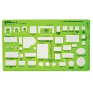 "Alvin® House Furniture Template: Green, 10"" x 5 7/8"" x .030"", Architectural, (model TD7151), price per each"