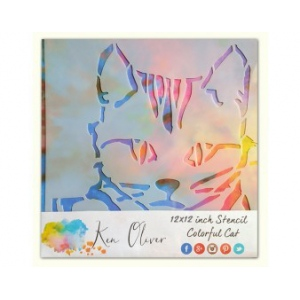 Ken Oliver - Stencil - 12x12 - Colorful Cat
