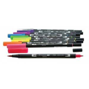 Tombow® Dual Brush® 10-Color Bright Pen Set: Multi, Double-Ended, Water-Based, Brush Nib, Fine Nib, (model 56185), price per set