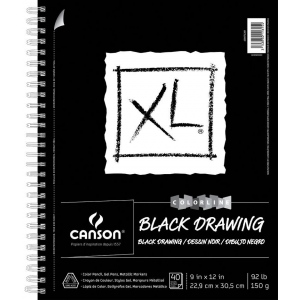 "Canson 9"" x 12"" Black Drawing Pad (Side Wire)"