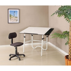 Alvin Creative Center White Base Onyx Table with Office Chair and Storage Tray