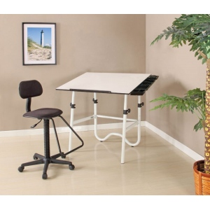 Alvin Creative Center White Base Onyx Table with Drafting Chair and Storage Tray