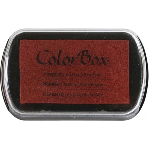 "ColorBox® Full Size Ink Pad Red Pearl: Red/Pink, Pad, Pigment, 2 1/2""l x 4""w x 1/4""h, (model CS19096), price per each"