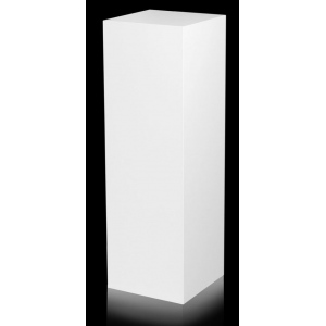 "Xylem White Laminate Pedestal: Small & Tabletop Sized, 9"" Height"