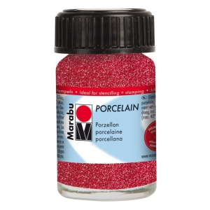 Marabu Porcelain Paint Glitter Red 15ml: Red/Pink, Jar, 15 ml, Porcelain, (model M11059039532), price per each