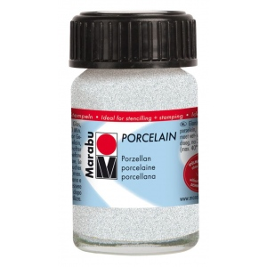 Marabu Porcelain Paint Glitter White 15ml: White/Ivory, Jar, 15 ml, Porcelain, (model M11059039570), price per each