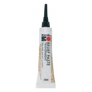 Marabu Relief Paste Glitter Gold: Metallic, Tube, 20 ml, Glass, Porcelain