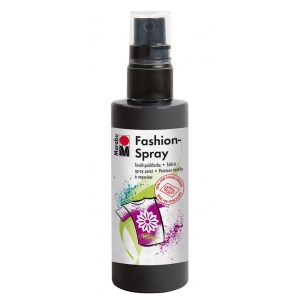 Marabu Fashion Spray Black 100ml: Black/Gray, Bottle, 100 ml, Fabric, (model M17199050073), price per each