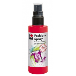 Marabu Fashion Spray Red 100ml: Red/Pink, Bottle, 100 ml, Fabric, (model M17199050232), price per each