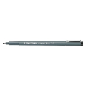 Staedtler® Pigment Liner 1.2mm: Black/Gray, Pigment, 1.2mm, Fine Nib, Technical, (model 30812), price per each