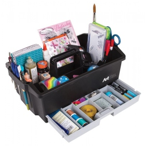 "Artbin® Art Supply Caddy: Black/Gray, Plastic, 16 5/8""l x 10 1/4""w x 6 7/8""h, (model 6963AG), price per each"