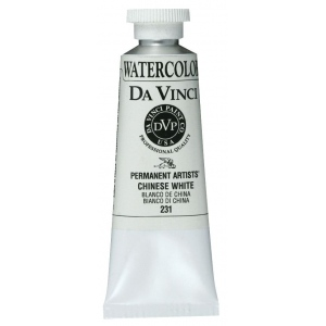 Da Vinci Artists' Watercolor Paint 37ml Chinese White: White/Ivory, Tube, 37 ml, Watercolor, (model DAV231), price per tube