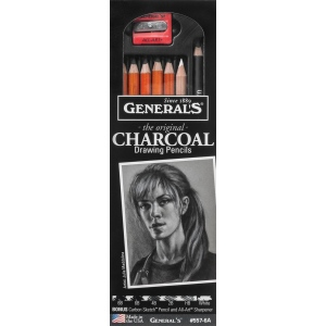 General's® Charcoal Drawing Pencil Set: Black/Gray, White/Ivory, 2B, 4B, 6B, Pencil, (model G557-6A), price per set