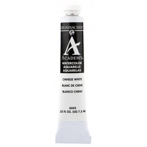Grumbacher® Academy® Watercolor Paint 7.5ml Chinese White : White/Ivory, Tube, 7.5 ml, Watercolor, (model GBA043B), price per tube