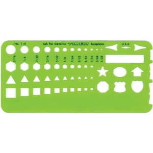 "Timely® Small Shapes Template: 2 1/4"" x 5"" x .020"", General Purpose, (model 41T), price per each"