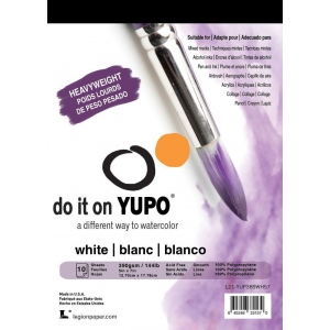 "YUPO® 144 lb. White Synthetic Mixed Media Paper Pad 5"" x 7"": White/Ivory, Pad, Polypropylene, 5"" x 7"", Smooth, 144 lb, (model L21-YUP389WH57), price per pad"