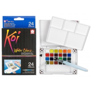 Sakura of America Koi Watercolor Field Box Set: 24 Colors & Waterbrush