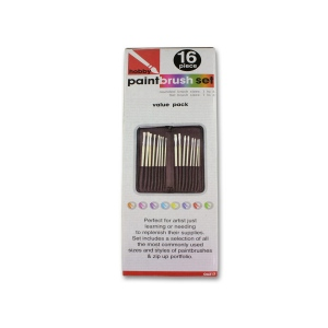 Bulk Buys 16 Piece Hobby Paint Brush Set With Case