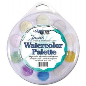 US ArtQuest Watercolor Palette Duo & Interference: Multi, Pan, Watercolor, (model AQPRL802), price per each