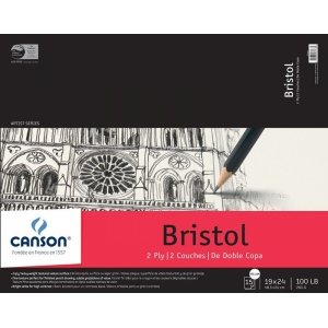 "Canson® Artist Series 19"" x 24"" Bristol Sheet Pad: Fold Over, White/Ivory, Pad, 15 Sheets, 19"" x 24"", Vellum, (model C100510863), price per 15 Sheets pad"