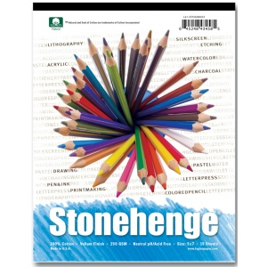 "Stonehenge Versatile Artist Papers: Pad, 15 Sheets of White, 250gsm, 8"" x 8"""